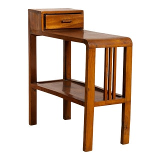 Vintage Dutch Colonial Midcentury Side Table with Single Drawer and Lower Shelf For Sale