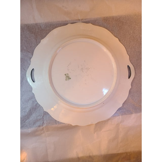 Antique Prussian Rose Pattern Handled Cake Plate For Sale - Image 10 of 11