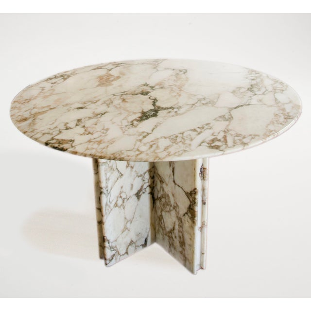 Made to Order Italian Calacatta Marble Round Dining / Center Table For Sale - Image 10 of 10