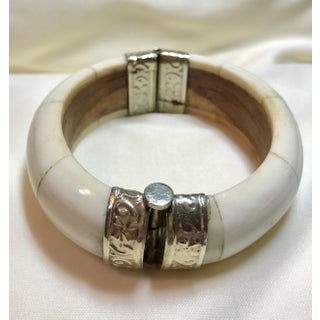 Bone, Wood and Silver Plate Hinged Bangle Preview