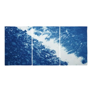 2020 Multi Paneled Seascape of British Pebble Beach Rocky Beach Landscape Print on Watercolor Paper Blue and White Cyanotype For Sale
