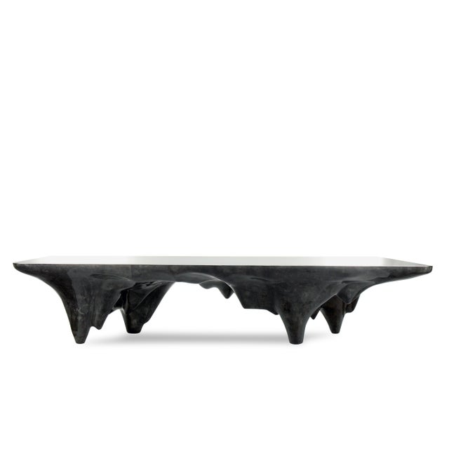 Black Arctic Dining Table in Charcoal Parchment & Stainless Steel For Sale - Image 8 of 8