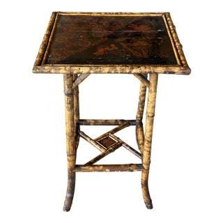 Antique English Scorched Bamboo Tall Side Table For Sale