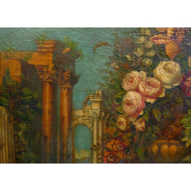 Vintage Italian Floral Still-Life Oil Painting - Image 4 of 5