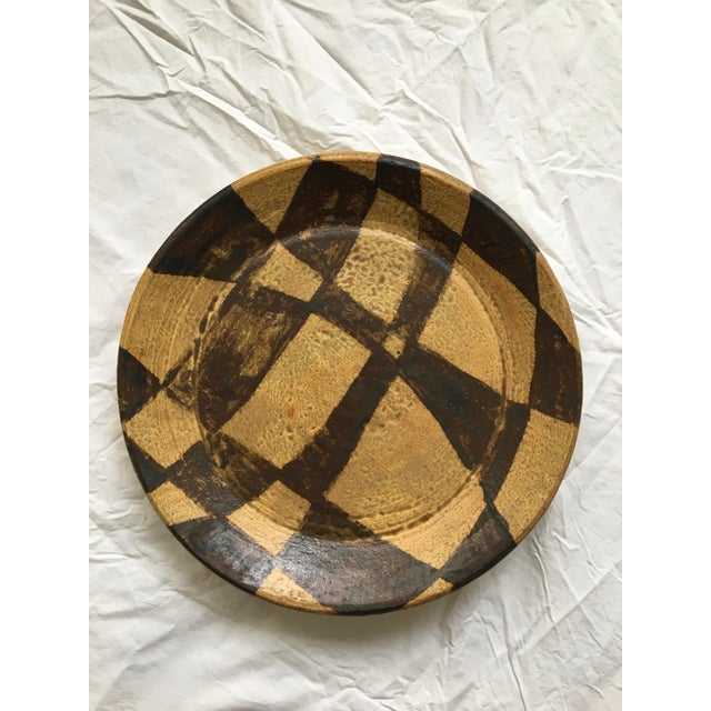 Gorgeous vintage Japanese Stoneware serving piece, platter, or centerpiece. Brown and tan abstract glaze motif. Stamped at...
