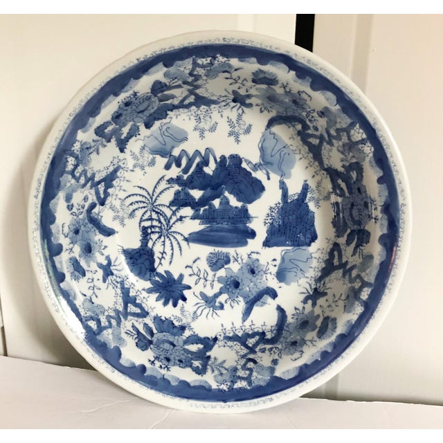 1990s Large Blue & White Chinese Bowl For Sale - Image 5 of 5