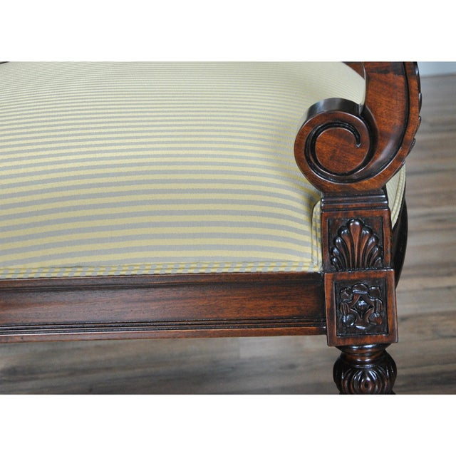 Carved Empire Upholstered Arm Chair - a Pair For Sale - Image 4 of 13