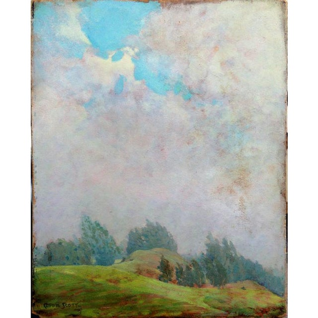 """Landscape oil painting of nearby trees and grassland titled """"Emerald Hill"""" by Clyde Scott (American, 1884-1959). A..."""