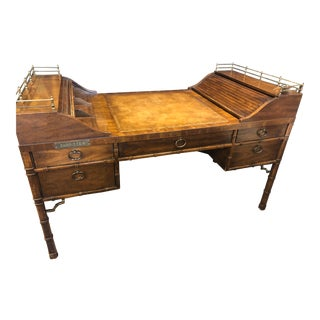 Traditional Drexel Heritage Faux Bamboo and Tooled Leather Desk For Sale