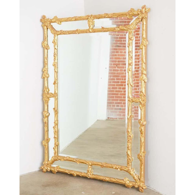 Baroque Italian Carved Gilt Wood Faux Bois Cushion Mirror For Sale - Image 3 of 13