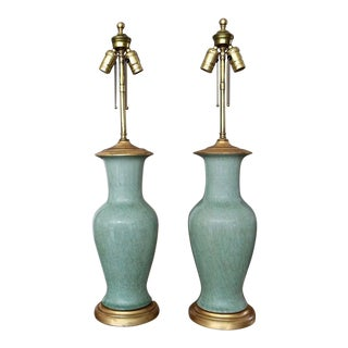 1960s Vintage Asian Chinese Celadon Green Porcelain Table Lamps- a Pair For Sale