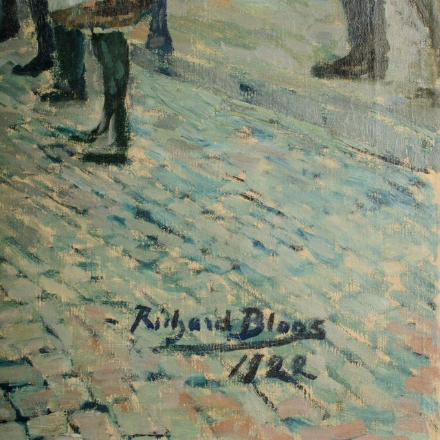 """Realism 1920s """"Performing Bear"""" Rustic European Village Scene Oil Painting by Richard Bloos For Sale - Image 3 of 11"""
