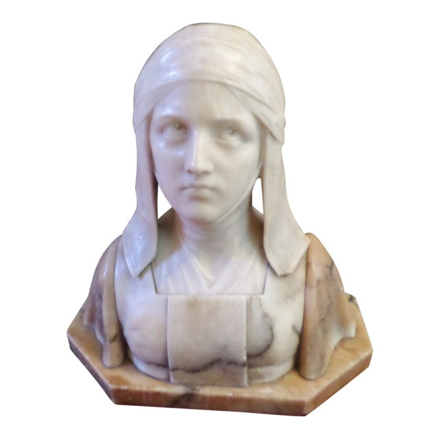 Antique Italian Alabaster Bust of Woman For Sale
