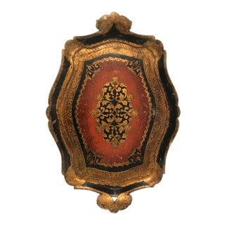 Antique Gold and Burnt Red Decorative Tray For Sale