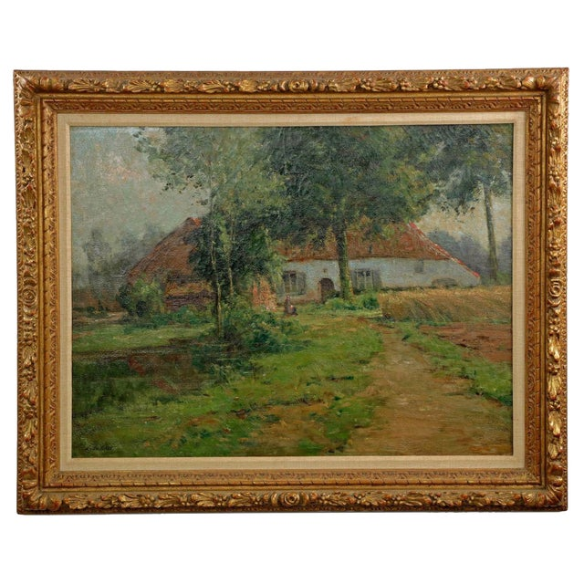 Lake Cottage Painting by Léon Riket - Image 1 of 9