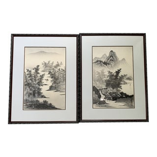 Vintage Japanese Paintings - A Pair For Sale