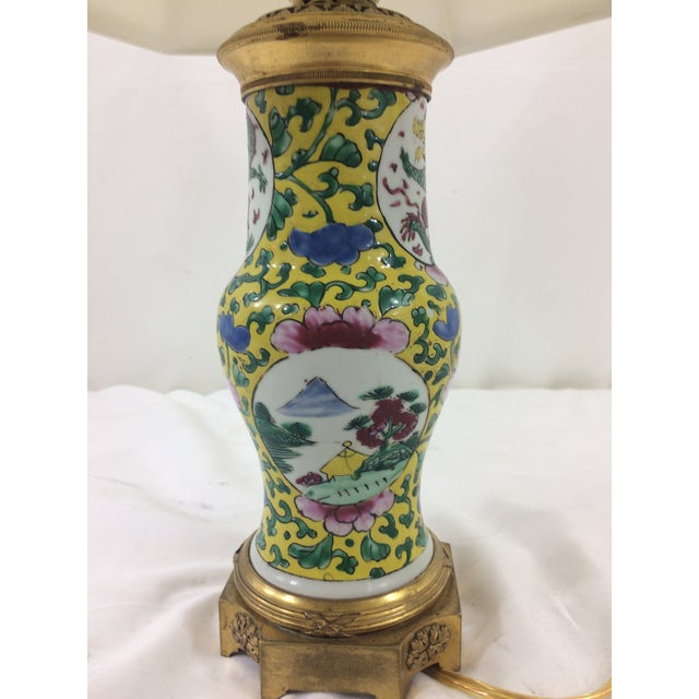 Imperial Yellow Chinese Export Lamp with Mounted Bronze Base For Sale - Image 4 of 7