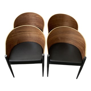 Leather and Wood Barrel Chairs - Set of 4 For Sale