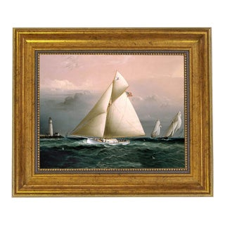 """Chiquita Racing Off Boston Lighthouse"" Contemporary Reproduction Print on Canvas, Framed For Sale"