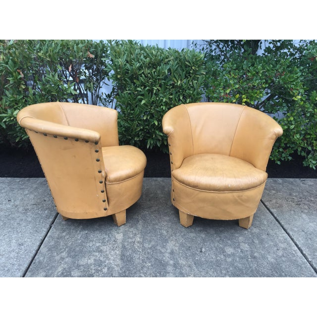 Vintage Spanish Barrel Back Leather Chairs- a Pair For Sale - Image 4 of 13