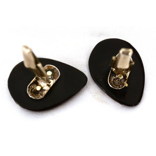 1950s Mexican Modernist Silver & Onyx Cufflinks For Sale - Image 5 of 5