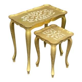 Italian Florentine Gilt Wood Nesting Tables - Set of 2 For Sale