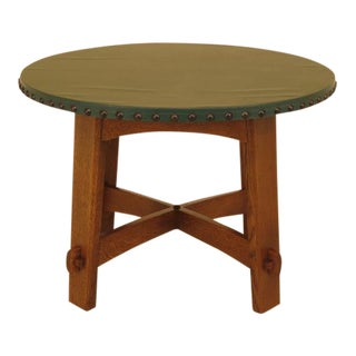 Stickley Round Mission Oak Leather Top Dining Room Table For Sale