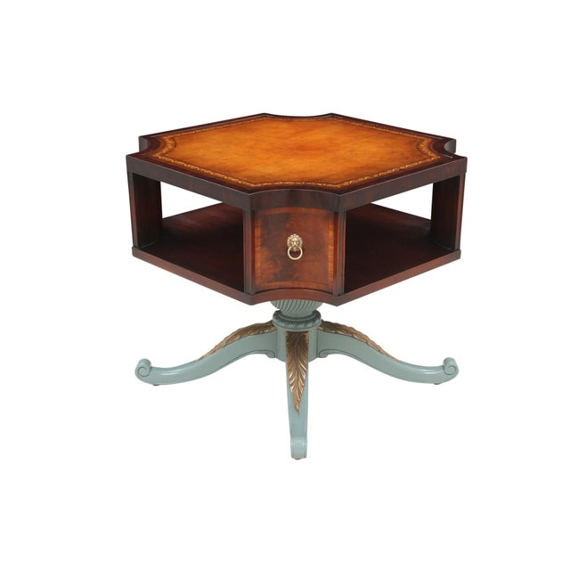 Revolving Mahogany Leather Top Bibliotheque - Image 7 of 7