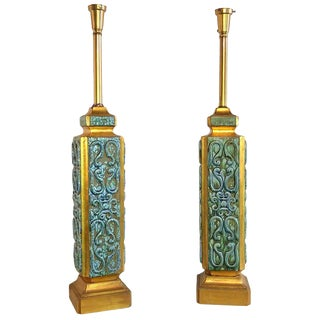 Turquoise Ceramic Jefferson Poole Pottery Table Lamps - A Pair
