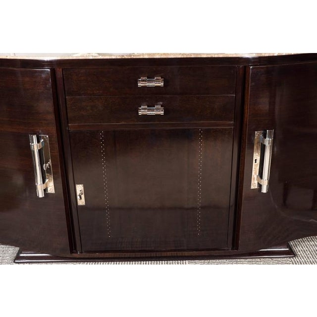 Art Deco Art Deco Book-Matched Rosewood and Emperador Marble-Top Sideboard For Sale - Image 3 of 11