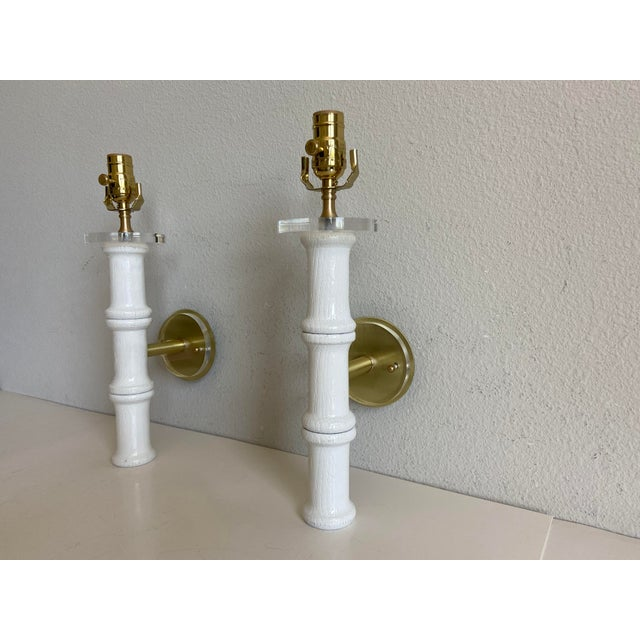 Metal Bamboo-Style Sconces & Shades - a Pair For Sale - Image 7 of 11