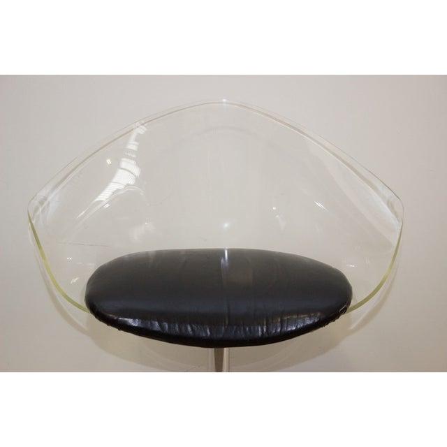 Mid-Century Lucite & Black Vinyl Chair - Image 3 of 4