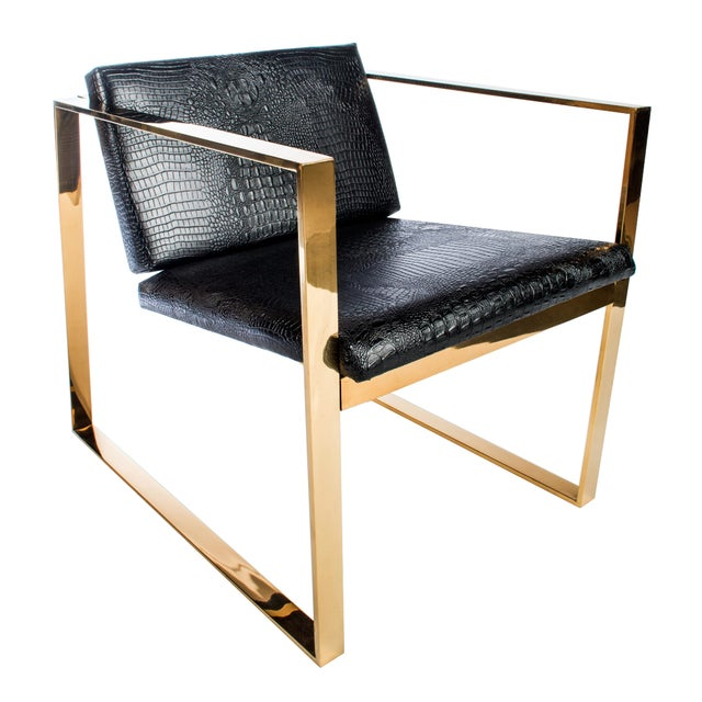 Philippe Gold and Black Croc Lounge Club Accent Chair For Sale