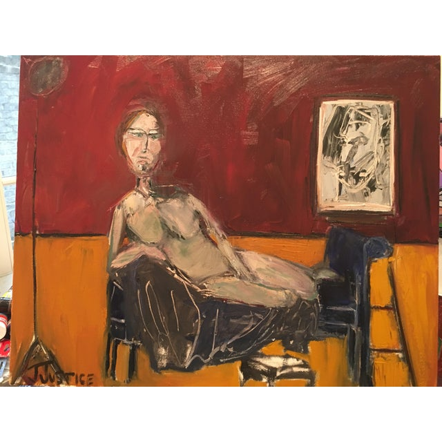 """2010s JJ Justice """"Everyone Stares at Her"""" Oil Painting For Sale - Image 5 of 11"""