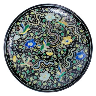 19th Century Kangxi Style Famille Noir Charger For Sale