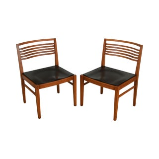 Knoll Studios Pair Ladderback Cherry Ricchio Side Chairs For Sale