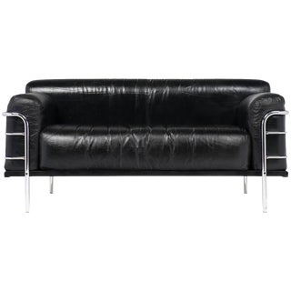 Vintage Le Corbusier Style Leather and Chrome Sofa