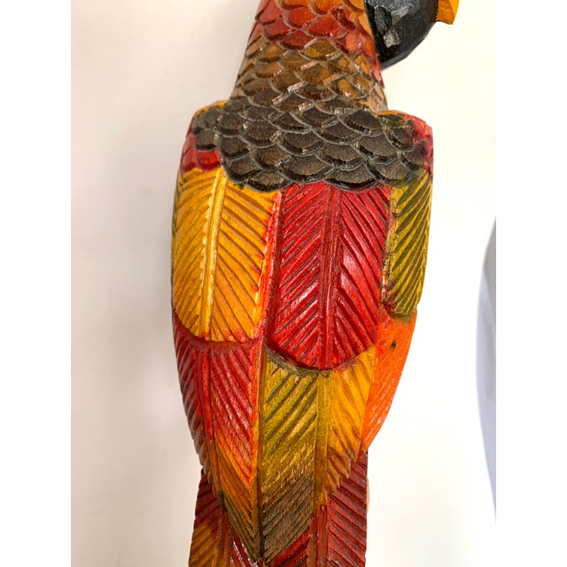 Painted Carved Wood Parrot Sculpture For Sale In Miami - Image 6 of 12