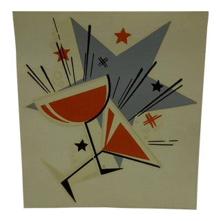 """1930s Vintage Decal / Wall Decoration """"Cocktails"""" the Meyercord Co. Chicago For Sale"""