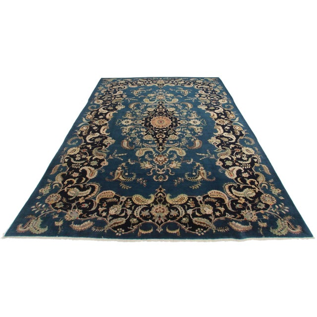 Antique Hand Knotted Wool Persian Kashan Rug. Great for any spot in your home or office!
