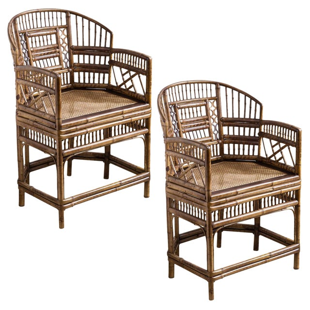 Brighton Bamboo Barrel Chairs by Thomasville Old Label, , A-Pair For Sale