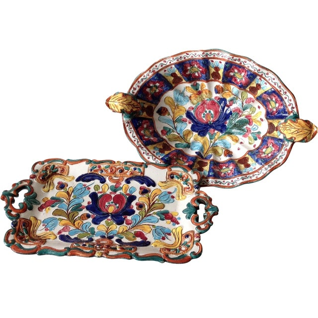 Hand-Painted Majolica Pottery Bowl & Tray - Image 1 of 11