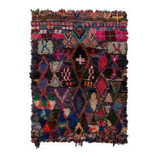Vintage Moroccan Berber Geometric Red Blue and Black Fabric Tribal Rug For Sale
