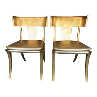 Vintage Mid Century Modern Gold Klismos Accent Chairs - a Pair For Sale