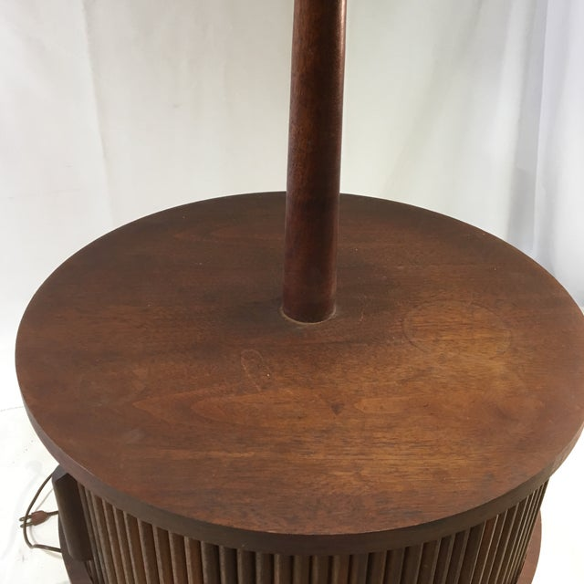 Vintage Mid-Century Leviton Wooden Floor Lamp With Tray Table and Sliding Compartment For Sale In Washington DC - Image 6 of 13