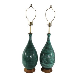 Mid-Century Modern Green Table Lamps - A Pair