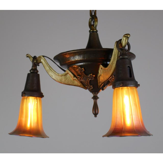 3 Light Arts & Crafts Style Iron Fixture. - Image 6 of 10