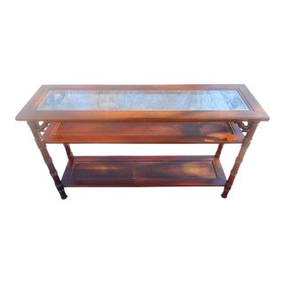 Mid-Century 3-Tier Faux Bamboo Asian Style Console For Sale