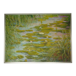 1960's Lotus Blossom's Among the Rushes Painting