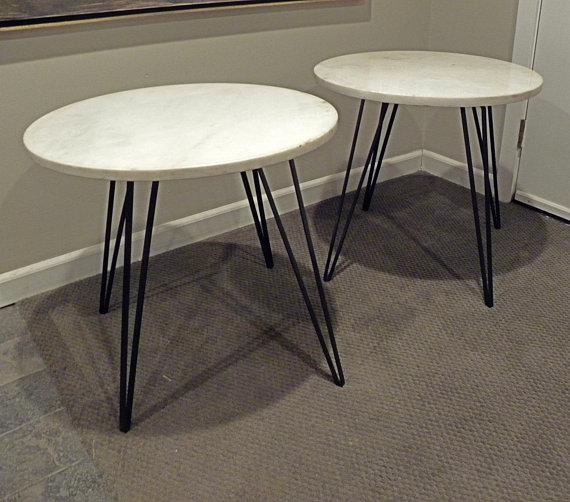 Delicieux Vintage Mid Century Marble Night Stands End Tables With Metal Legs   A Pair  For